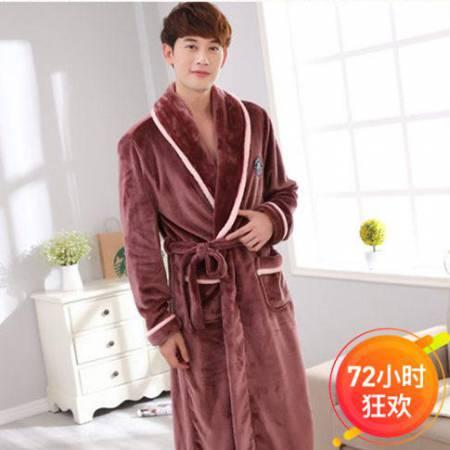 秋冬时尚保暖法兰绒情侣睡袍·男款胸牌咖色