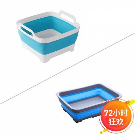 折叠沥水篮+折叠盆2件套厨房家用多功能创意易收纳水槽水盆·白蓝