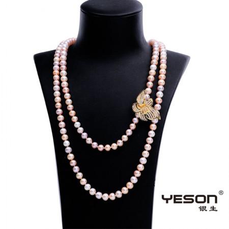 银生缤纷长款混彩珍珠项链