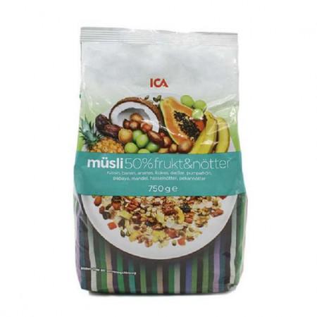 瑞典ICA 50%水果果仁燕麦片750g*2袋