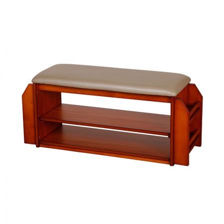 英国INNESS英尼斯 原装进口橡胶木门厅大换鞋凳·咖色