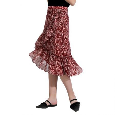 今升 荷叶花边碎花鱼尾半身裙·砖红白点