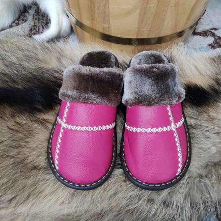 米彩微姿 十字英伦风冬季保暖牛皮拖鞋·玫红色