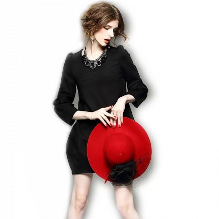 丁摩 茧型包臀灯笼袖连衣裙·黑色