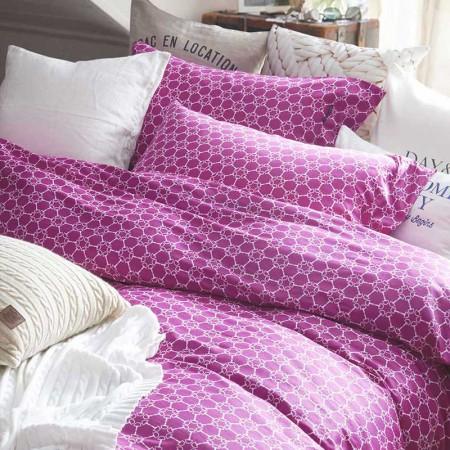 DAY&ME 北欧风40支 贡缎纹几何图案全棉活性印花四件套·胭脂扣