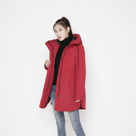 迪欧达女士防寒加拿大鹅绒大衣  DX8113·大红
