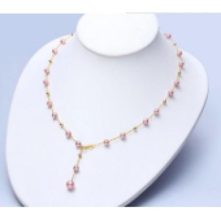 水年华18K金紫色恋人正圆珍珠项链可调节