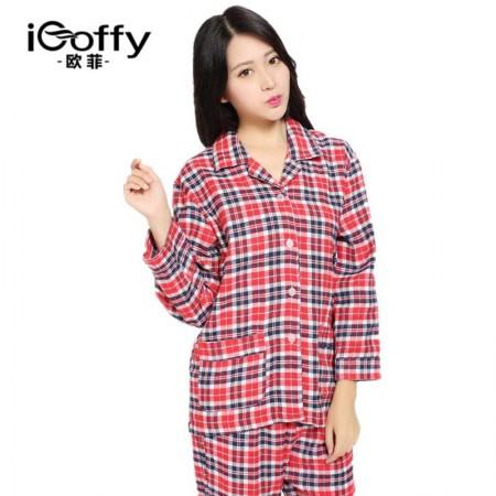 欧菲(icoffy) 女式加厚磨毛绒布家居服(OF201043)·红格