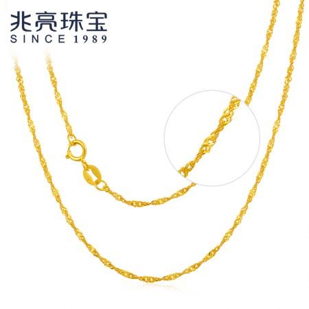 兆亮珠宝 水波纹 18K金项链AU750 经典百搭时尚锁骨链·黄色