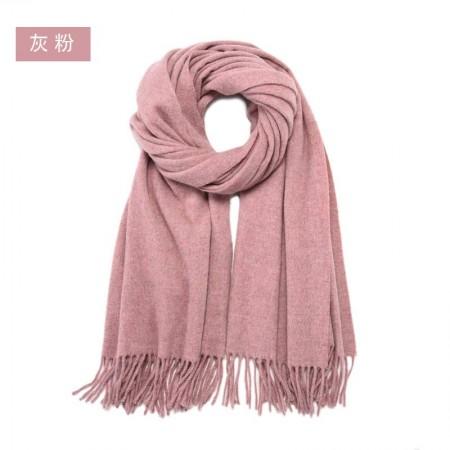 漫丽依加厚全羊毛围巾大披肩70*200CM SWR0030·灰粉色