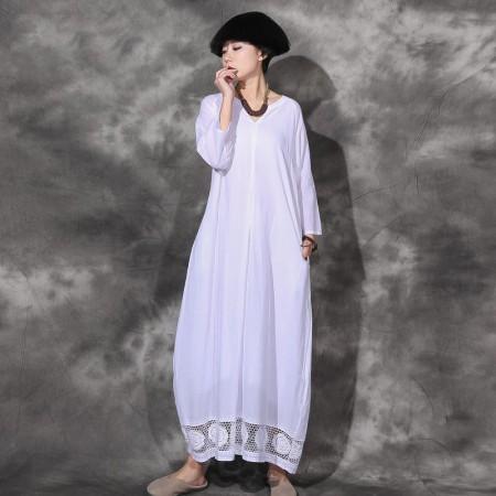 絮笈 V领七分袖棉麻下摆蕾丝绣花双层连衣裙·白色
